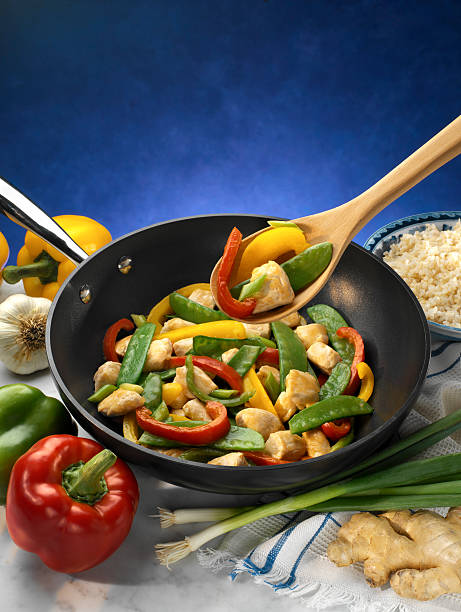 Low fat Bell Pepper and chicken saute stock photo
