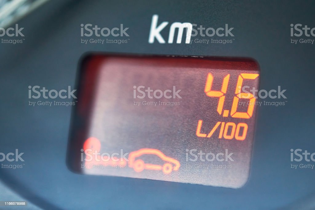 On-board computer of a car shows a low petroleum consumption. The...