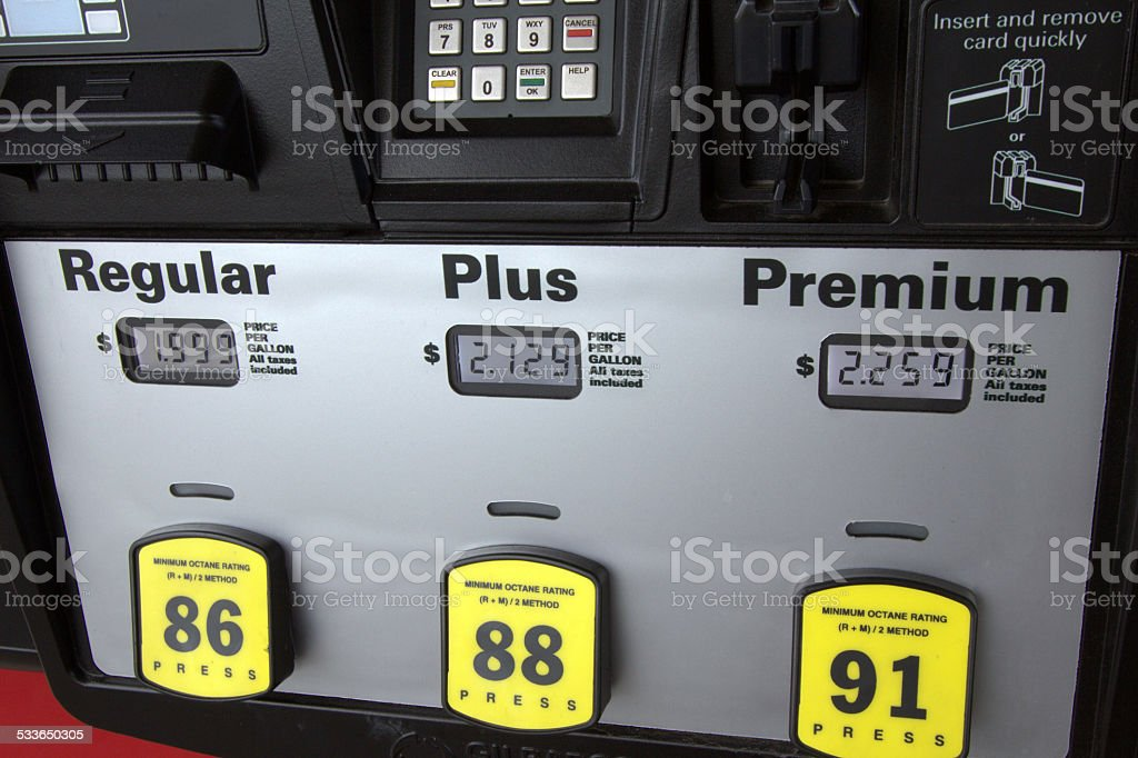 Low Gas Prices at the Pump stock photo