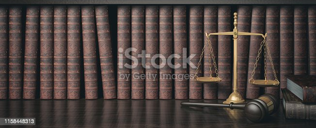 Low key filter law bookshelf with wooden judge's gavel and golden scale, 3D Rendering