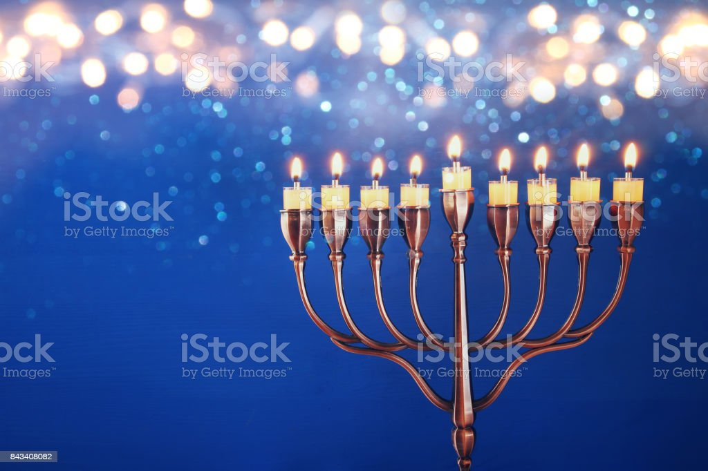 低いキー ユダヤ人の祝日のハヌカの背景のイメージ ストックフォト