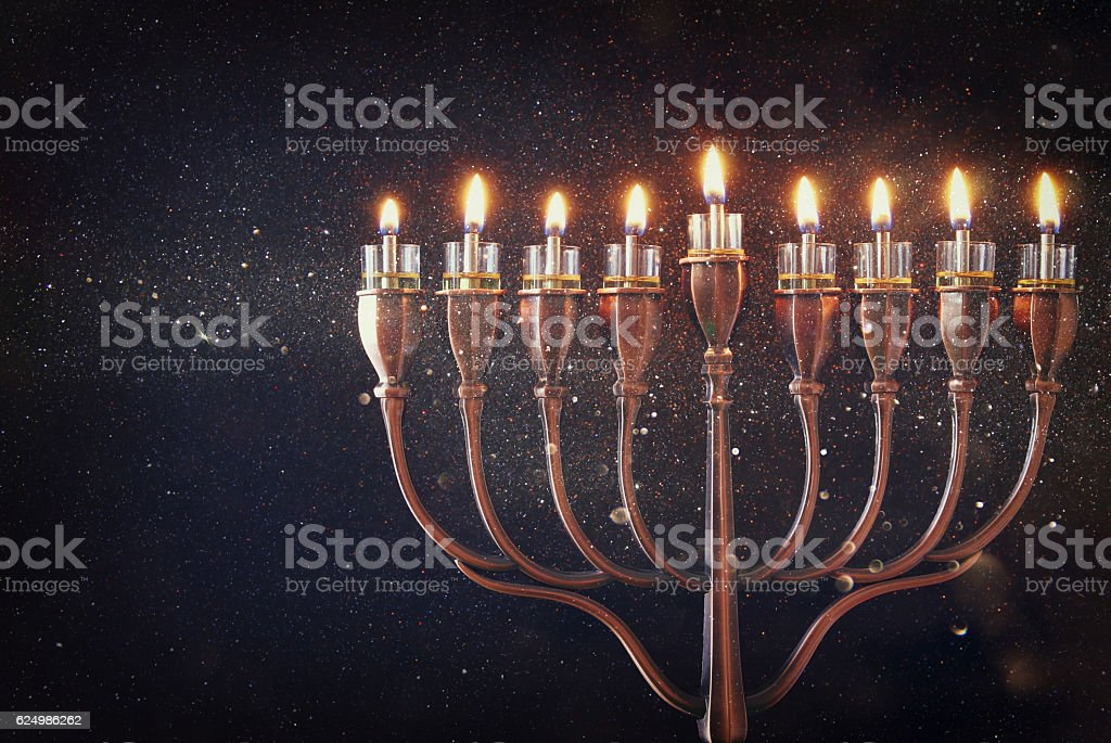 Low key of jewish holiday Hanukkah background stock photo