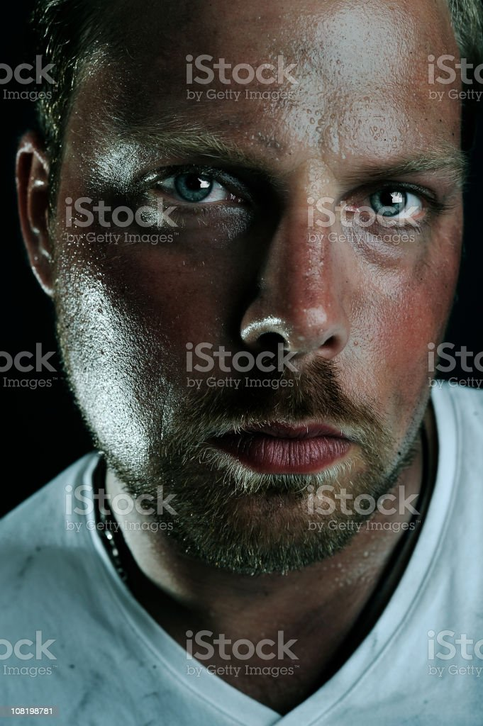Low Key Portrait Of Dirty Man Stock Photo - Download Image Now - iStock
