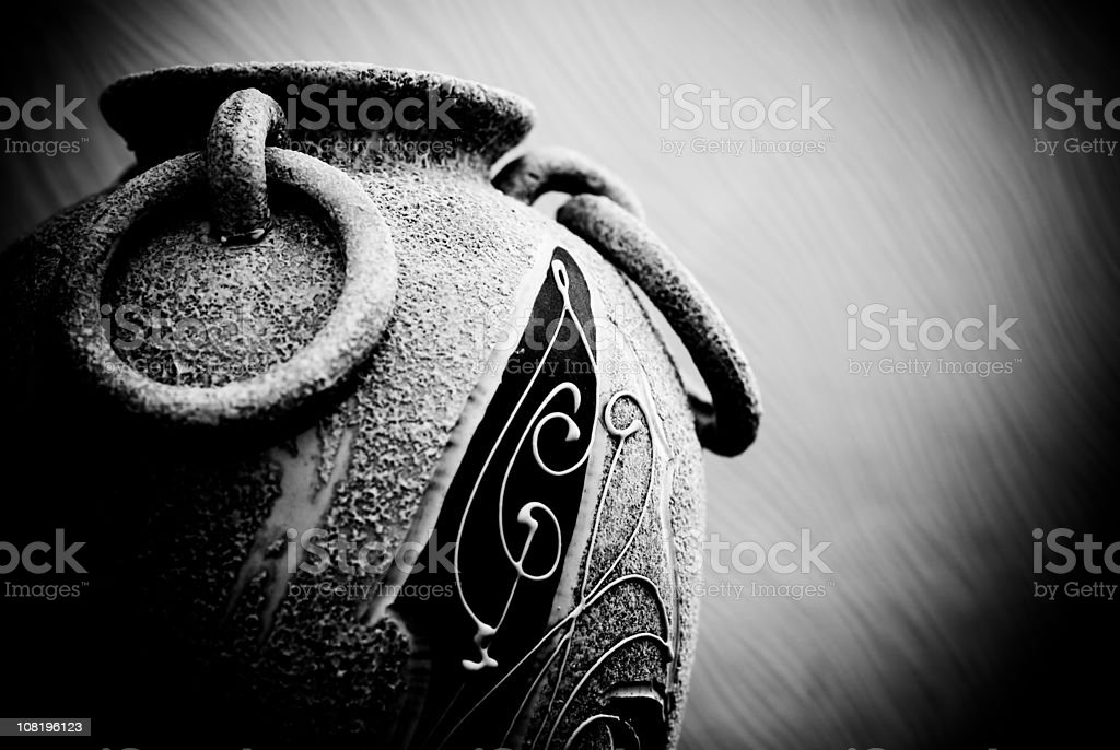 Low Key Portrait of Old Vase with Handles royalty-free stock photo