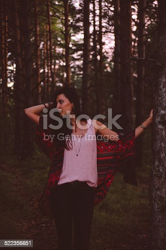 509923232 istock photo Low key vintage portrait in the forest after sunset 522356651
