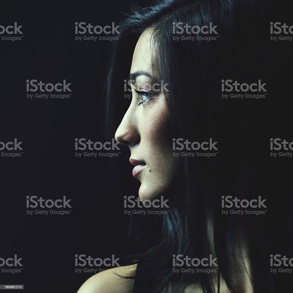 Low Key Womans Profile stock photo