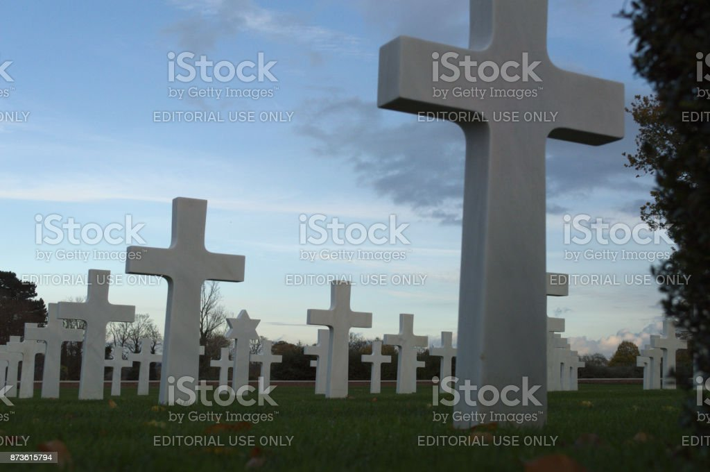 Low level photo of headstones stock photo