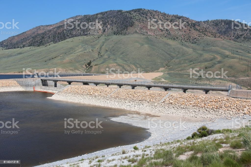 Low level reservoir stock photo