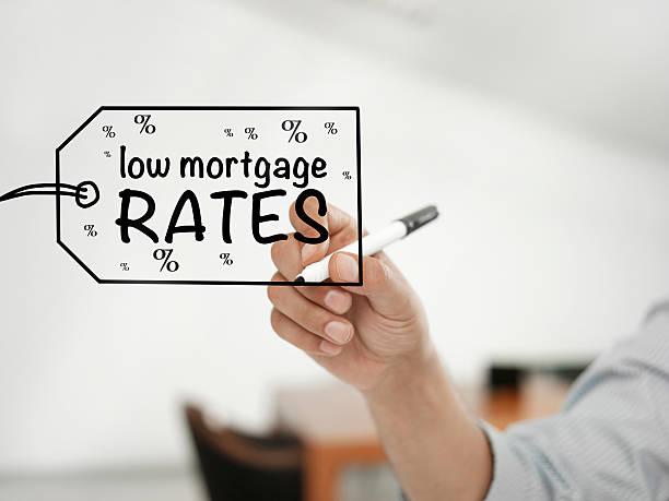 low mortgage rates - bankhaken stock-fotos und bilder