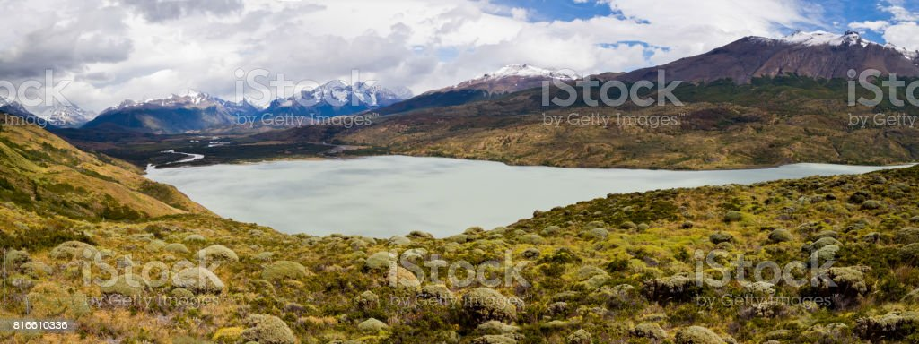 A low Patagonian lake along the full circuit hike around Torres Del Paine Chile, Patagonia, South America stock photo