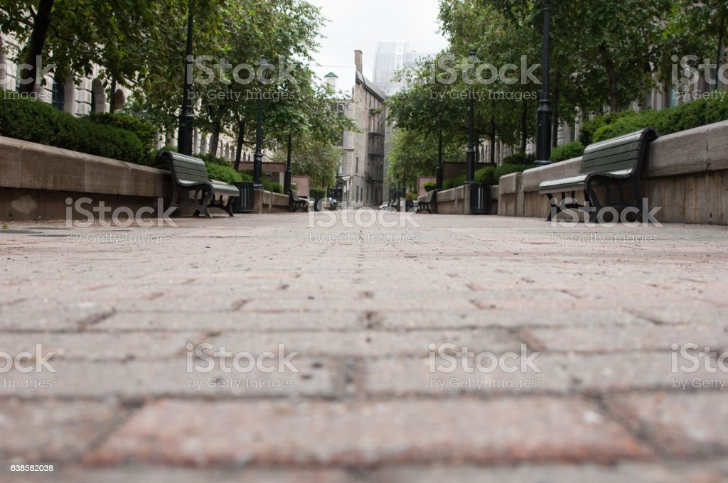 Low point of view looking down a brick paved pedestrian – Foto