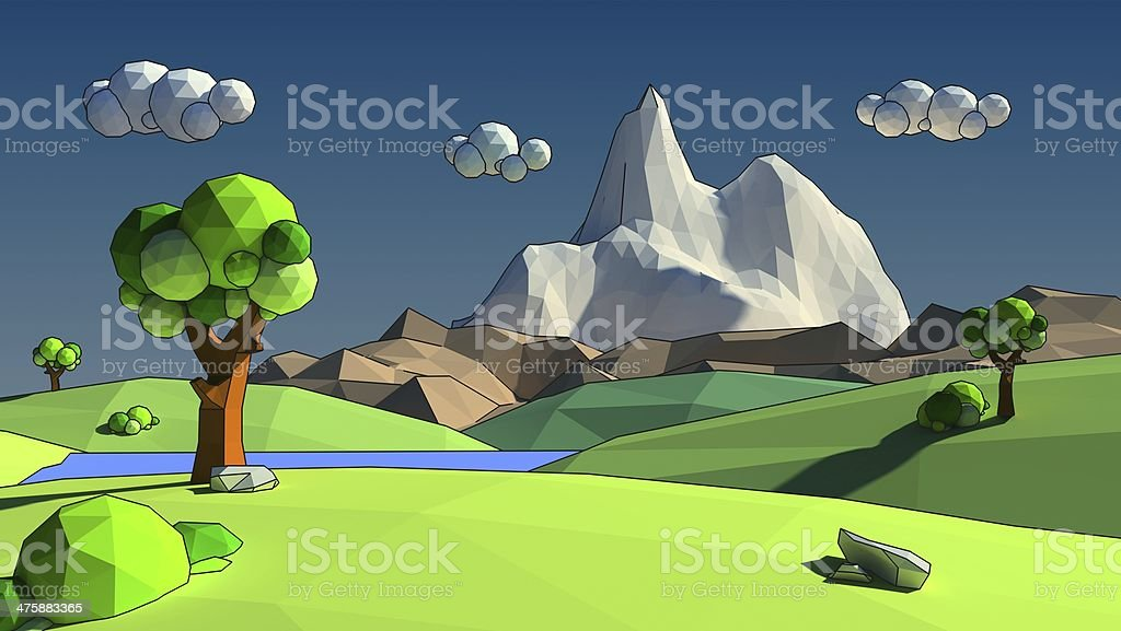 Low poly 3d environment stock photo