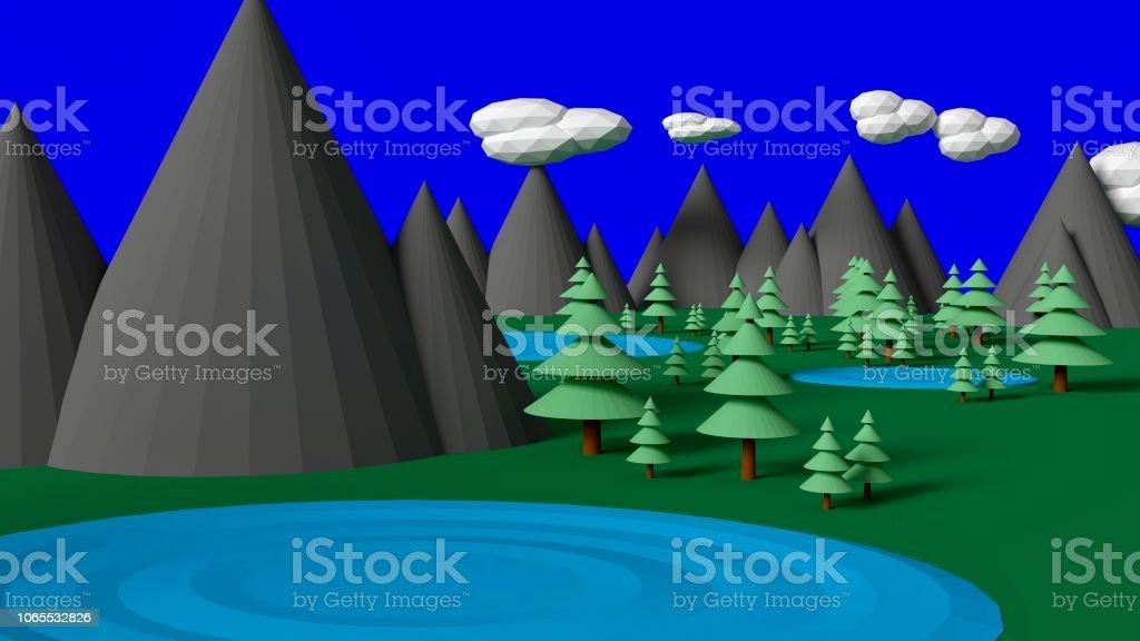 Low Poly Alpine Nature Scene stock photo