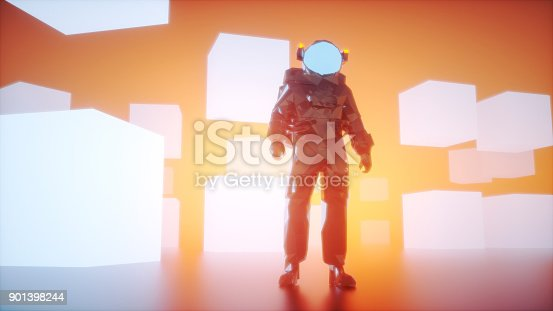 istock Low poly astronaut video game character 901398244