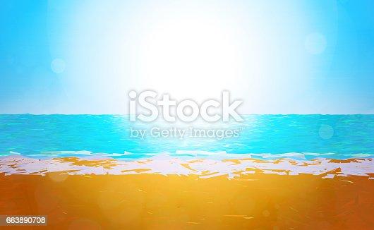 istock Low poly beach 663890708