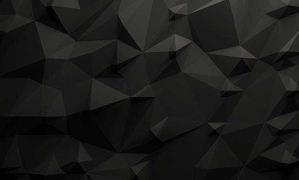 Low poly black background Low poly illustrated black background. 3d rendering. two dimensional shape stock pictures, royalty-free photos & images