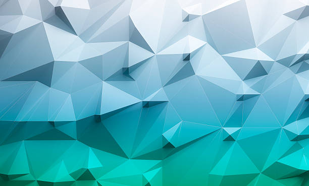 Low poly blue and green gradient background stock photo