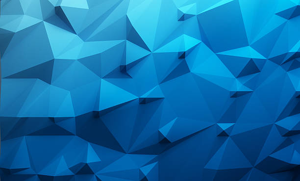 Low poly blue gradient background stock photo