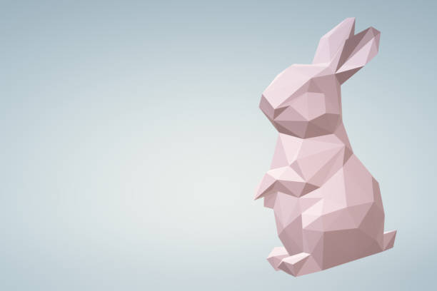 Low poly bunny stock photo