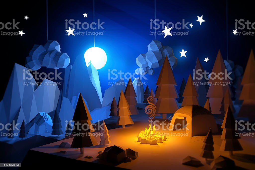 Low Poly Camping Adventure stock photo