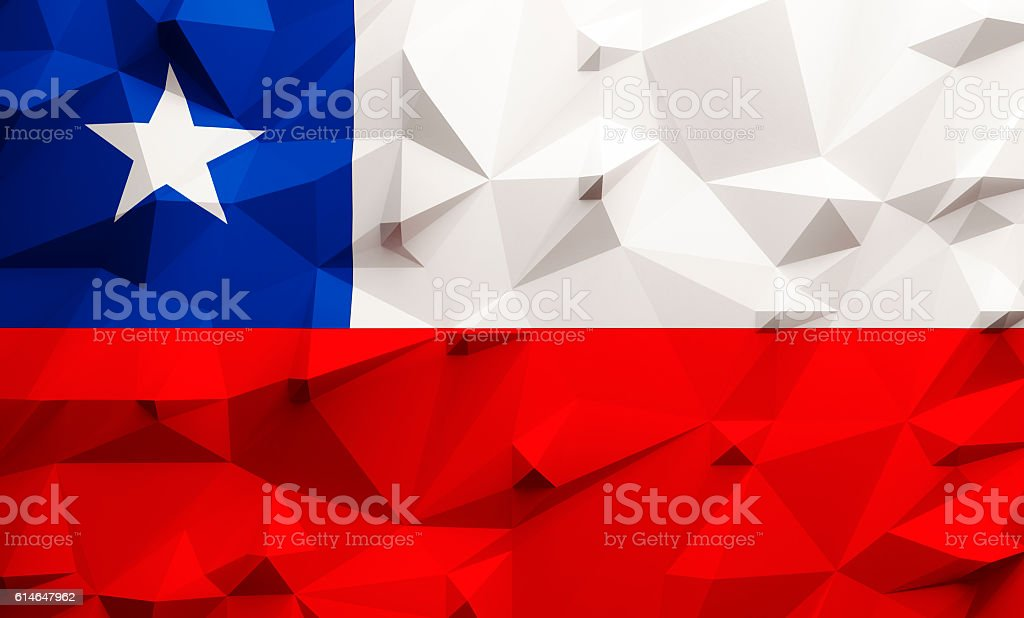 Low poly Chile flag - foto de acervo