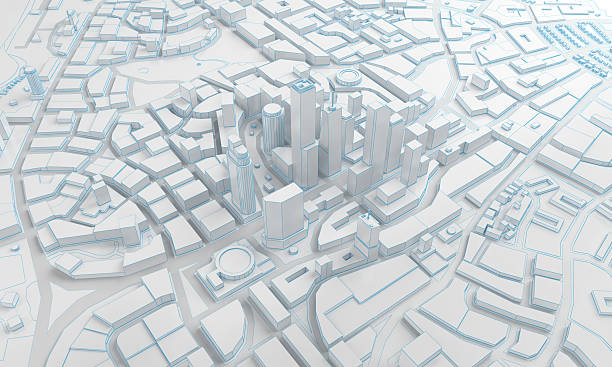 low poly city views from above. 3d rendering ストックフォト