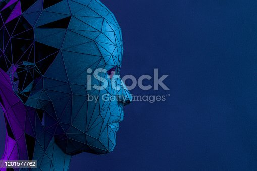 1064469672 istock photo 3D Low Poly Cyborg Head,  Artificial Intelligence Concept 1201577762