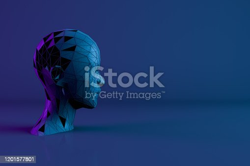 1064469672 istock photo 3D Low Poly Cyborg Head,  Artificial Intelligence Concept 1201577801
