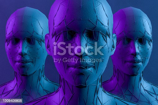 1064469672 istock photo 3D Low Poly Cyborg Head, Artificial Intelligence Concept 1209405805