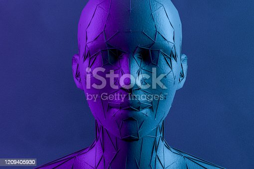1064469672 istock photo 3D Low Poly Cyborg Head, Artificial Intelligence Concept 1209405930