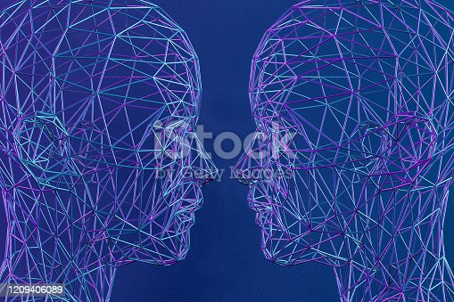 1064469672 istock photo 3D Low Poly Cyborg Head, Artificial Intelligence Concept 1209406089