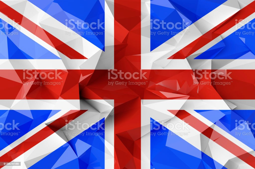 Low poly flag of United Kingdom. stock photo