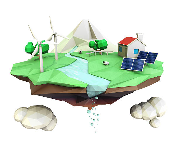 3D low poly floating island for ecology concept stock photo