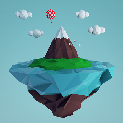 istock Low poly fying island with a mountain and a balloon 919662268