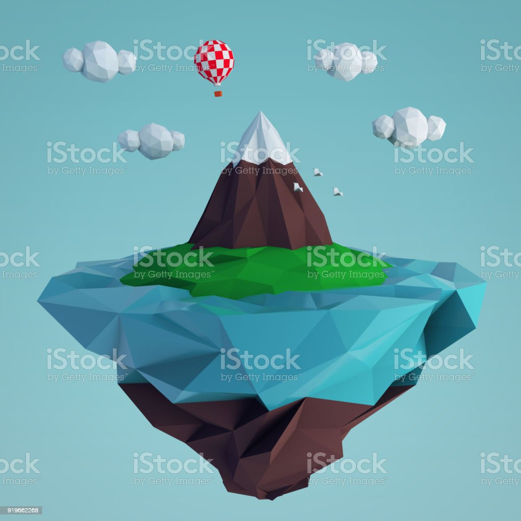 Low poly fying island with a mountain and a balloon stock photo