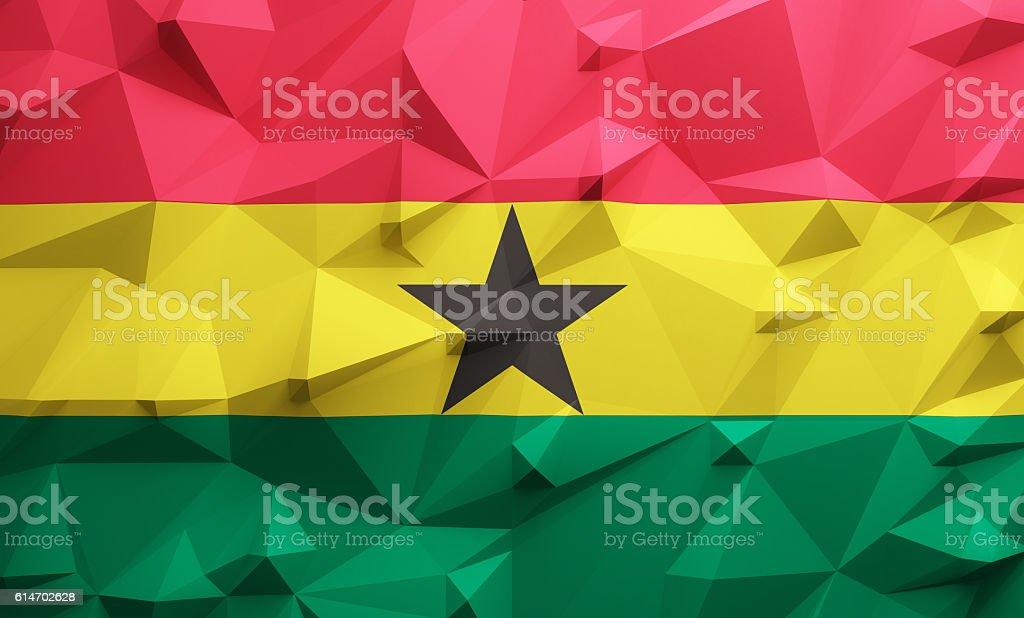 Low poly Ghana flag stock photo
