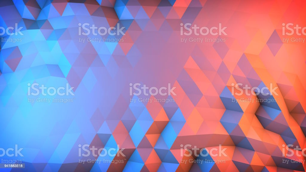 Low poly gradient surface abstract 3D render stock photo