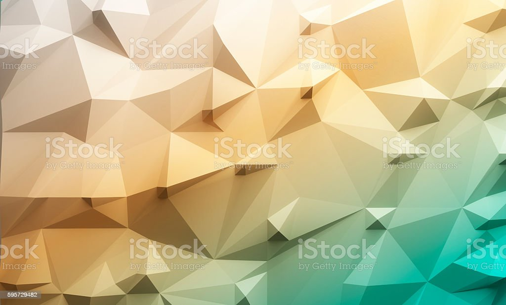 Low poly green and yellow gradient background stock photo