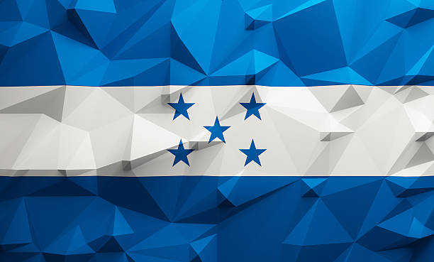 low poly honduras flag - bandera de honduras fotografías e imágenes de stock