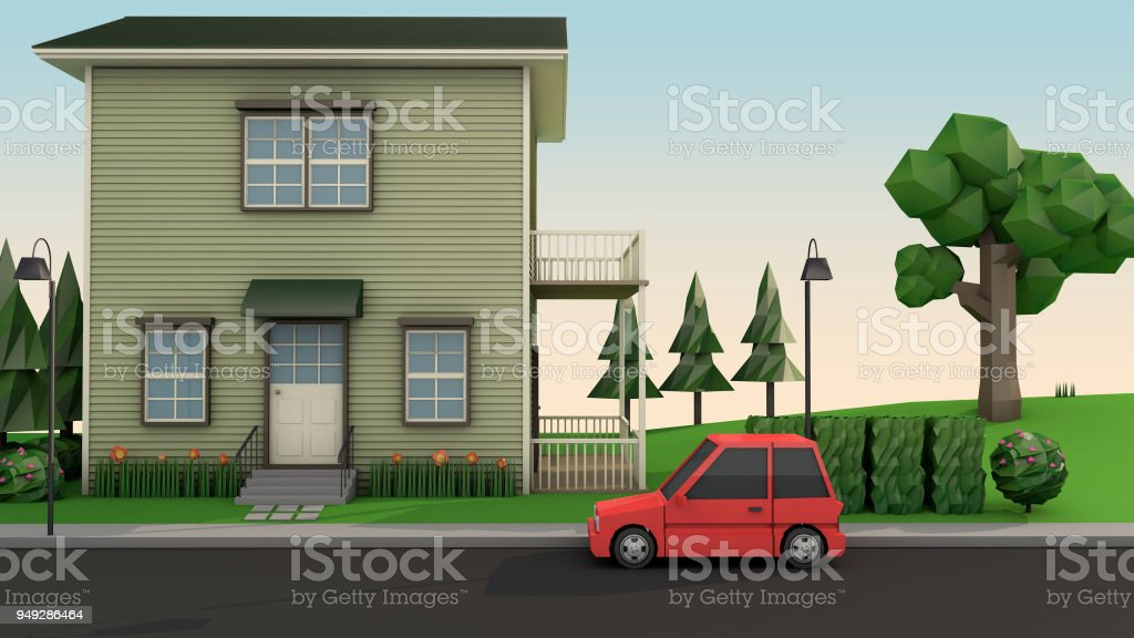 low poly house and red car on the road cartoon style 3d rendering stock photo