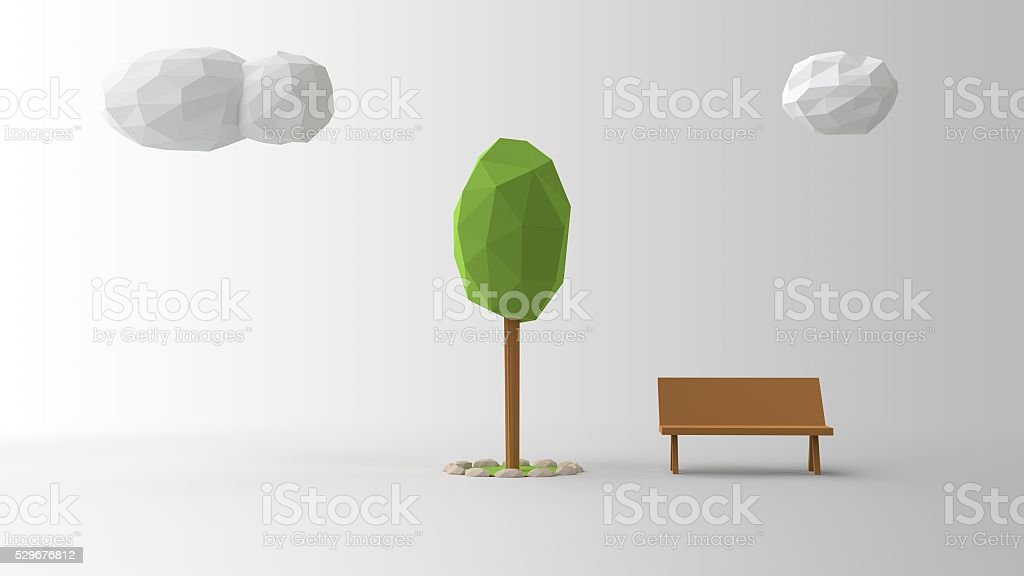 Low poly illustration scenario. Clouds Tree and a sitting bench. stock photo