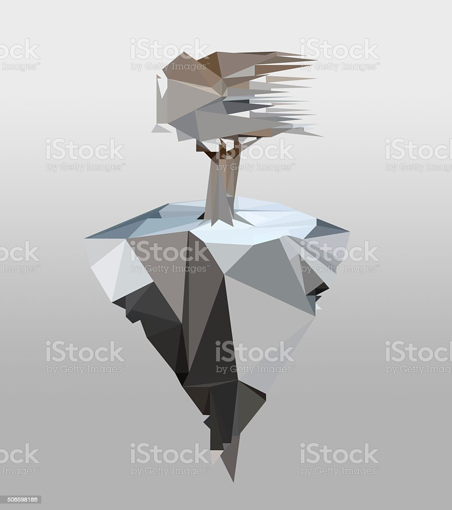 low poly landscape. frozen tree and iceberg polygon style stock photo