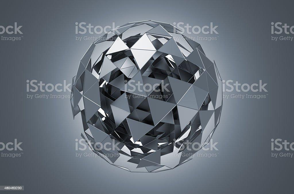 Baixa Poly esfera com estrutura de Metal caótica - foto de acervo