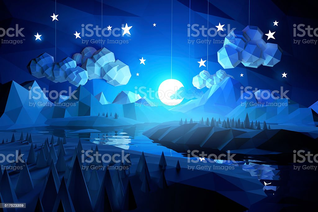 Low Poly Midnight Landscape stock photo