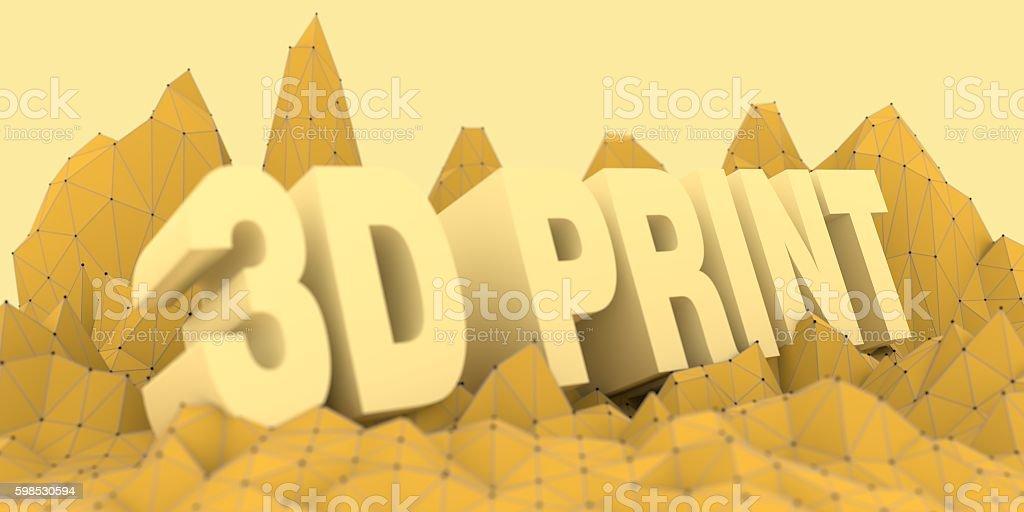 Low poly mountains landscape. 3D print text photo libre de droits