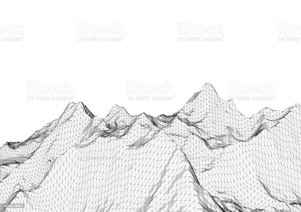 Low poly mountains landscape. Polygonal background stock photo