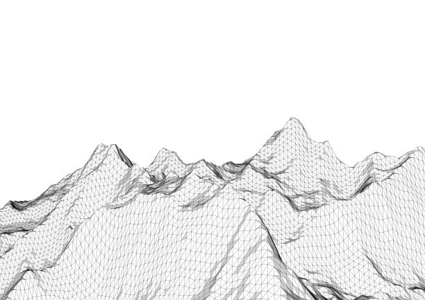 low poly mountains landscape. polygonal background - topography stock photos and pictures