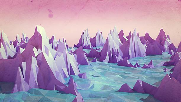 low poly mountains landscape with water. - triangle forme bidimensionnelle photos et images de collection