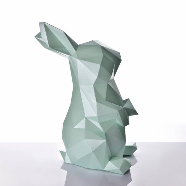 Low poly paper bunny stock photo