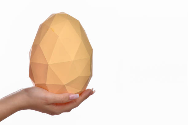 Low poly paper egg stock photo
